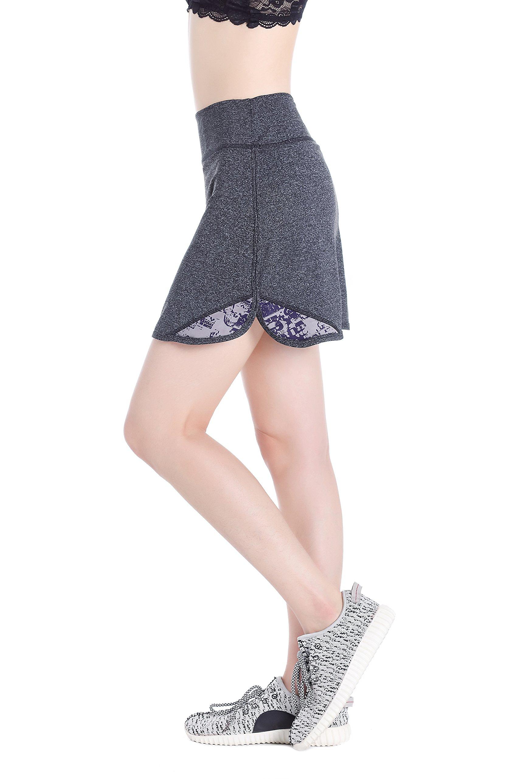 Annjoli Womens Running Skirt Casual Gym Tennis Skort for Workout, Golf, Gym (S, Gray/Pattern)