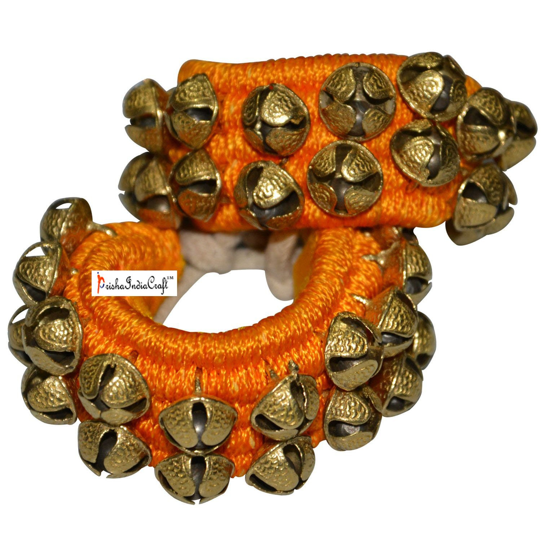 Prisha India Craft ® Kathak Ghungroo (16 No. Ghungroo) Best Quality 2 Line Big Dancing Bells Ghungroo Pair Handmade Indian Classical Dance Accessories Ghungru Yellow Pad