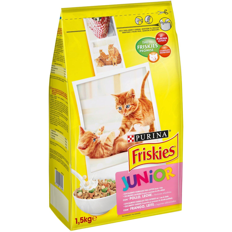 Friskies - Gato Junior con Pollo, Leche y Verduras añadidas, 1,5 Kg: Amazon.es: Productos para mascotas