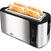 """Maxi-Matic ECT-3100 Long Extra Wide 1.25"""" Slots for Bagels Toaster, 4 Slice, Stainless Steel & Black"""