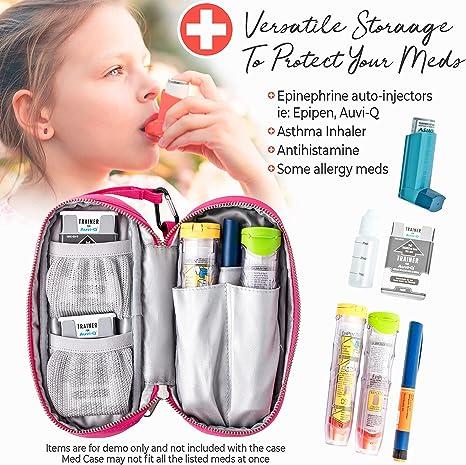 Medical Alert Keychain Blue Epi Pen Storage Bag Carrier Insulated Allergy Injector Pouch Tie Dye Batik Cotton Fabric