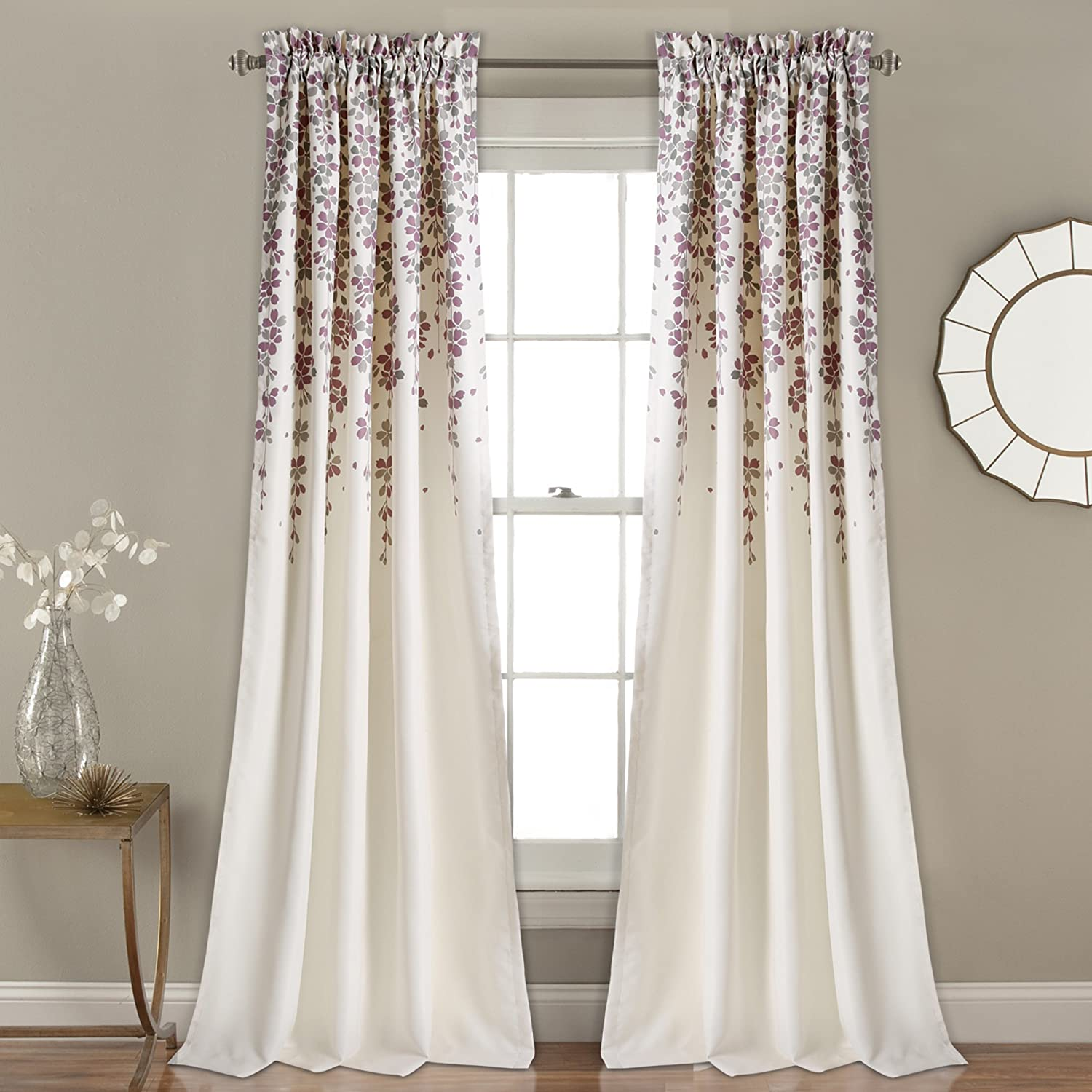 "Lush Decor Weeping Flowers Curtains Room Darkening Window Panel Set (Pair), 84"" x 52"", Purple"
