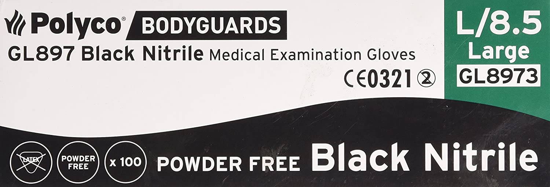 BODYGUARD GL8973 Nitrile Powder Free Gloves, Black, Set of 100 ...