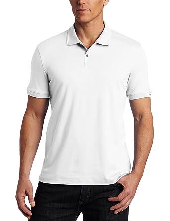 Calvin Klein Men's Short Sleeve Two Button Polo Shirt, White, Large