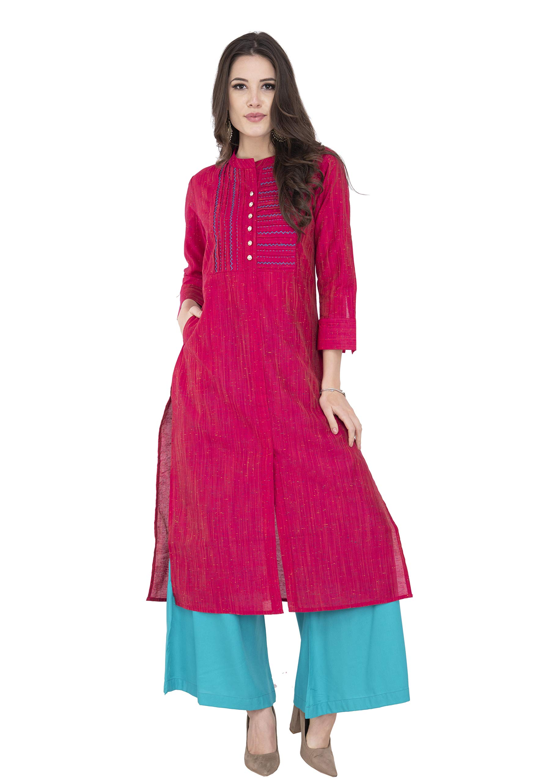 Lagi Women Designer Straight, Front Slit, A line, Top Tunic,Kurta Kutis, Casual, Formal,Party wear,Weeding wear for Women (S, Magenta (RK2125A))