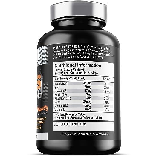 ZM6® Xtreme - 2,100mg | 180 cápsulas vegetales | 2-3 meses de suministro | Suplemento de zinc magnesio (ZM6® licencia oficial) | La testosterona, ...