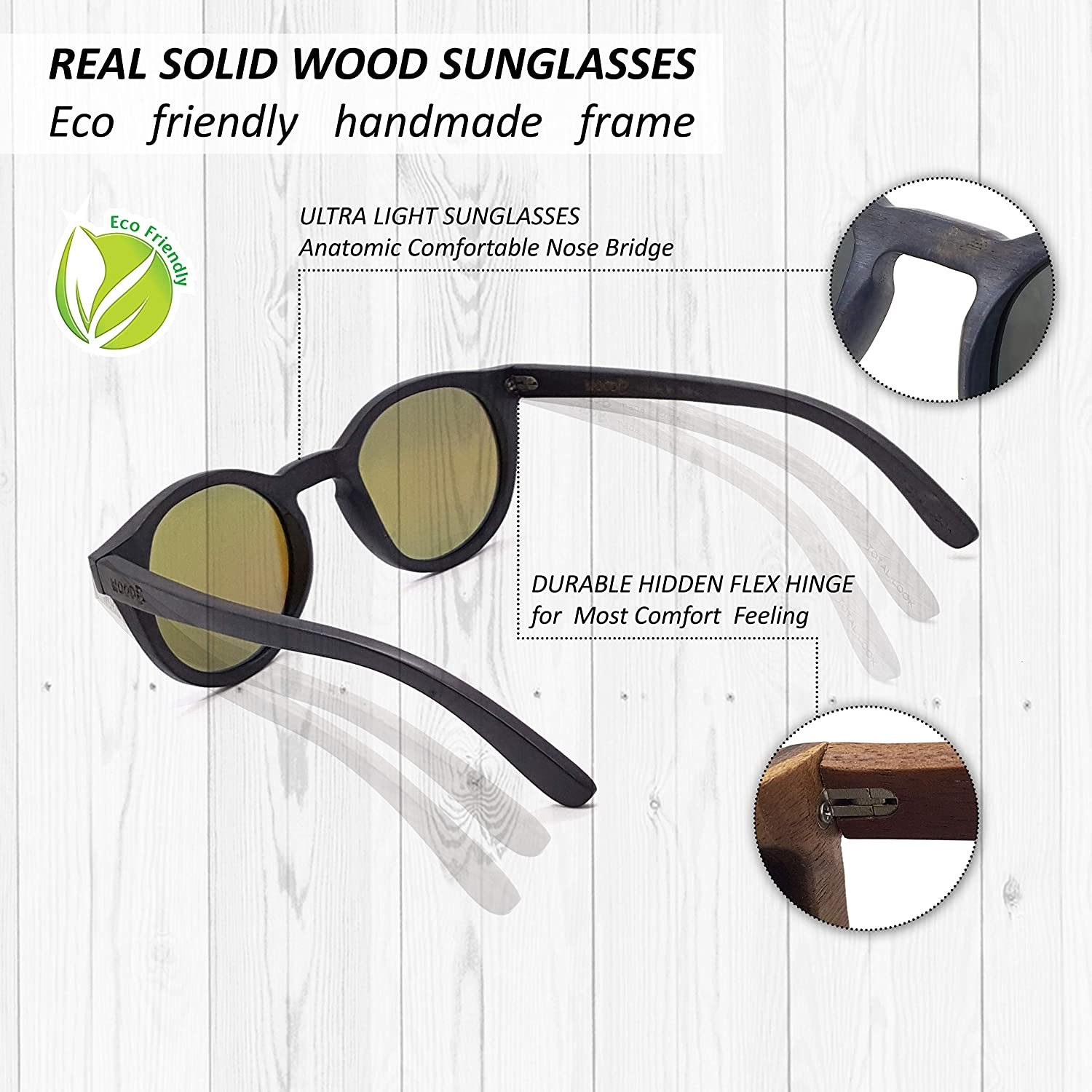a65a103143 Amazon.com  Real Wood Round Sunglasses UV-400 Polarized Lenses Plus Cap in  a Gift Box  Clothing