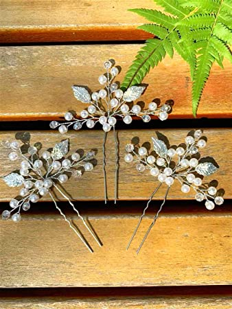 Wedding Bridal Maid Pearls Flower Hair Pins Jewelry Clip Accessories Comb Sight