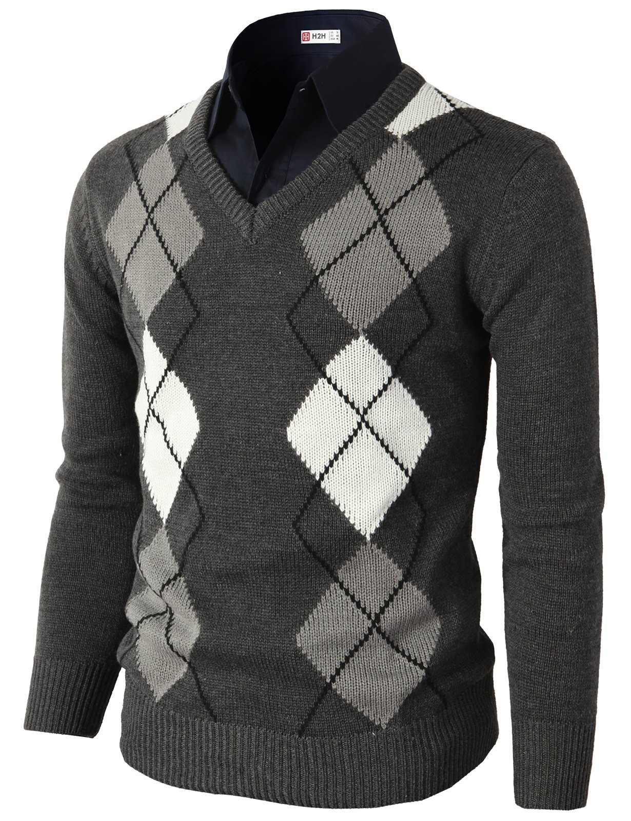 H2H Mens Casual Slim Fit Pullover Argyle Pattern Long Sleeve Sweater Charcoal US S/Asia M (CMOSWL013)