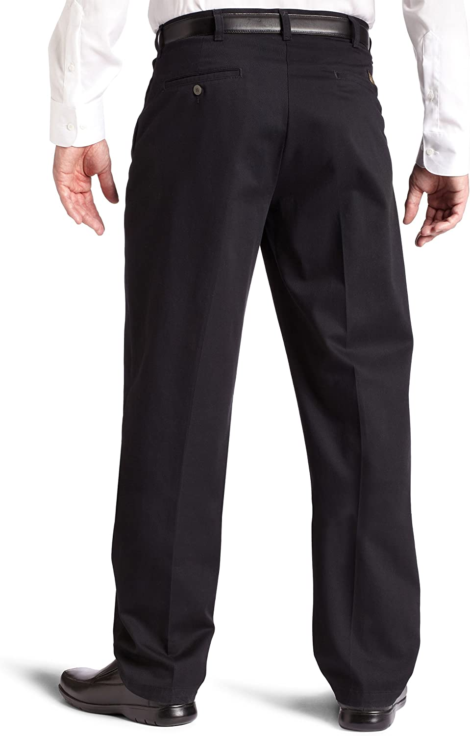 Lee Men's Big & Tall Big-Tall Stain Resistant Relaxed Fit Pleated Pant Black