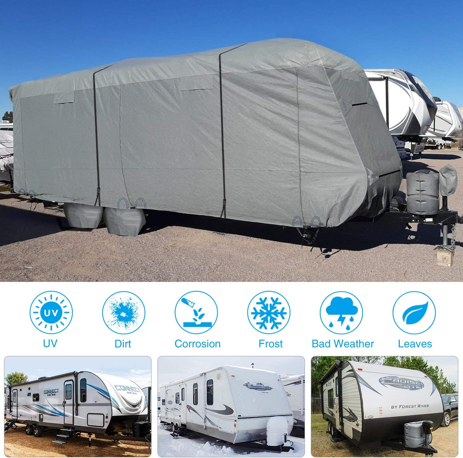 Tongue Jack Cover RVMasking Upgraded 6 Layers Top Travel Trailer RV Cover Waterproof Camper Cover for 201-22 RV Prevent Top Tearing Caused by Sun Exposure with 4 Tire Covers 2 Straps