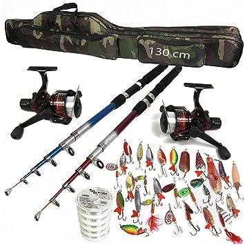 0,35mm Tasche 130cm Rute 2,40m Rolle FX500 Sehne Blinker TMD-Line 14-tlg Angel Set mit Schnur 500m