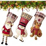 NONZERS 3x Calcetin de Navidad,Medias de Decoracoón de Navidad,Santa Claus, Muñeco de Nieve,y Alce Bolsa de Caramelo y Regalo