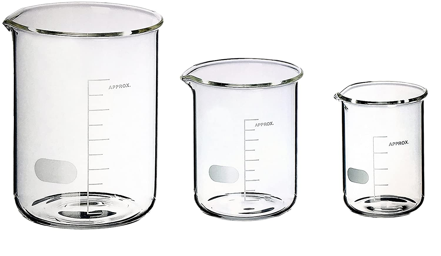 Sciencent Borosilicate Glass Low Form Glass Beaker, 50/100/250 (Pack of 3) The Punjab Scientific Industries
