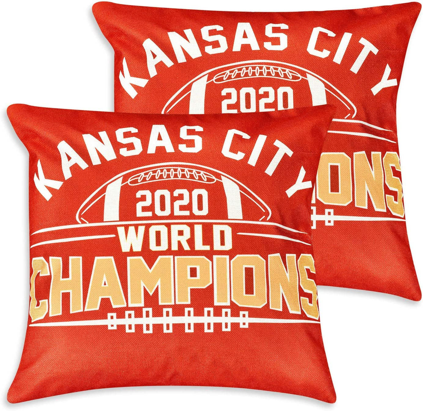 18 x 18 Set of 2pcs Football Team KC Chiefs 2020 Champions Throw Pillow Covers Pillow Cases Decorative Pillowcase Protecter with Zipper Without Insert