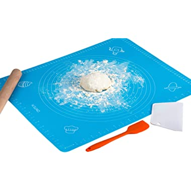 Silicone Baking Mats,Non Stick & Non Slip Baking Pastry Mat for Rolling Out Dough,Reusable,Heat Resistant,BPA Free,Non-Toxic,Easy to Clean With Measurements-Blue