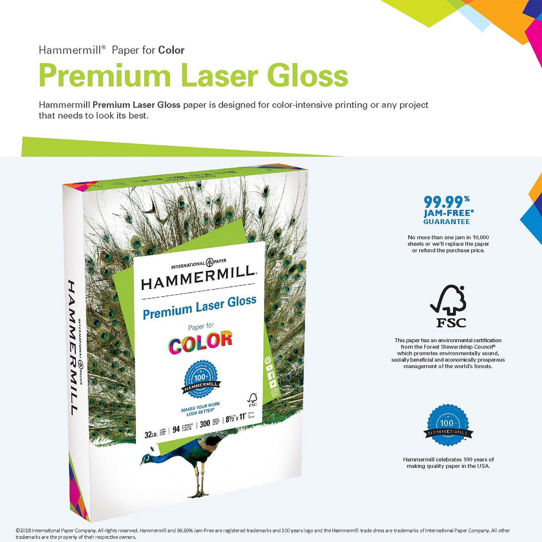 Hammermill Paper, Premium Laser Gloss Paper, 8.5 x 11 Paper, Letter Paper, 32lb Paper, 94 Bright, 1 Pack / 300 Sheets (163110R) Acid Free Paper by Hammermill (Image #3)