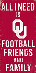 "Fan Creations NCAA Oklahoma Sooners 6"" x 12"" All I Need is Football, Friends, and Family Wood Sign"