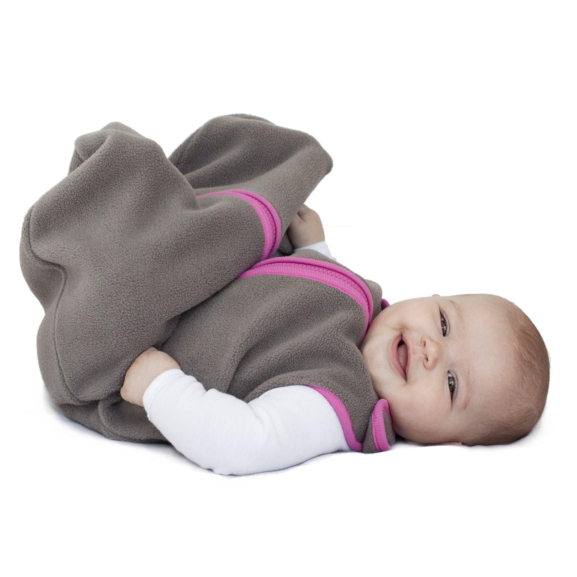 baby deedee Sleep Nest Fleece Wearable Blanket, Slate/Hot Pink, Small (0-6 Months) by baby deedee