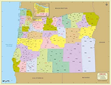 Amazon Com Oregon Zip Code Map With Counties 48 W X 37 H