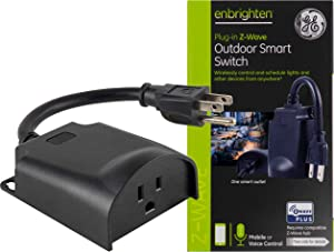 GE Enbrighten Z-Wave Plus Smart Outdoor Switch, 1-Outlet Plug-In (2nd Gen.), Weather-Resistant, Works with Alexa, Google Assistant, for Landscape & Seasonal Lighting, ZWave Hub Required, 14298