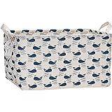 "Sea Team 17.7"" x 11.8"" x 9.8"" Square Natural Linen & Cotton Fabric Storage Bins Shelves Storage Baskets Organizers for Nursery & Kid's Room (Whale)"