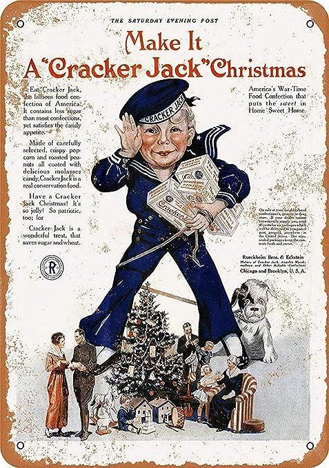 Shunry Cracker Jack Christmas Placa Cartel Vintage Estaño ...