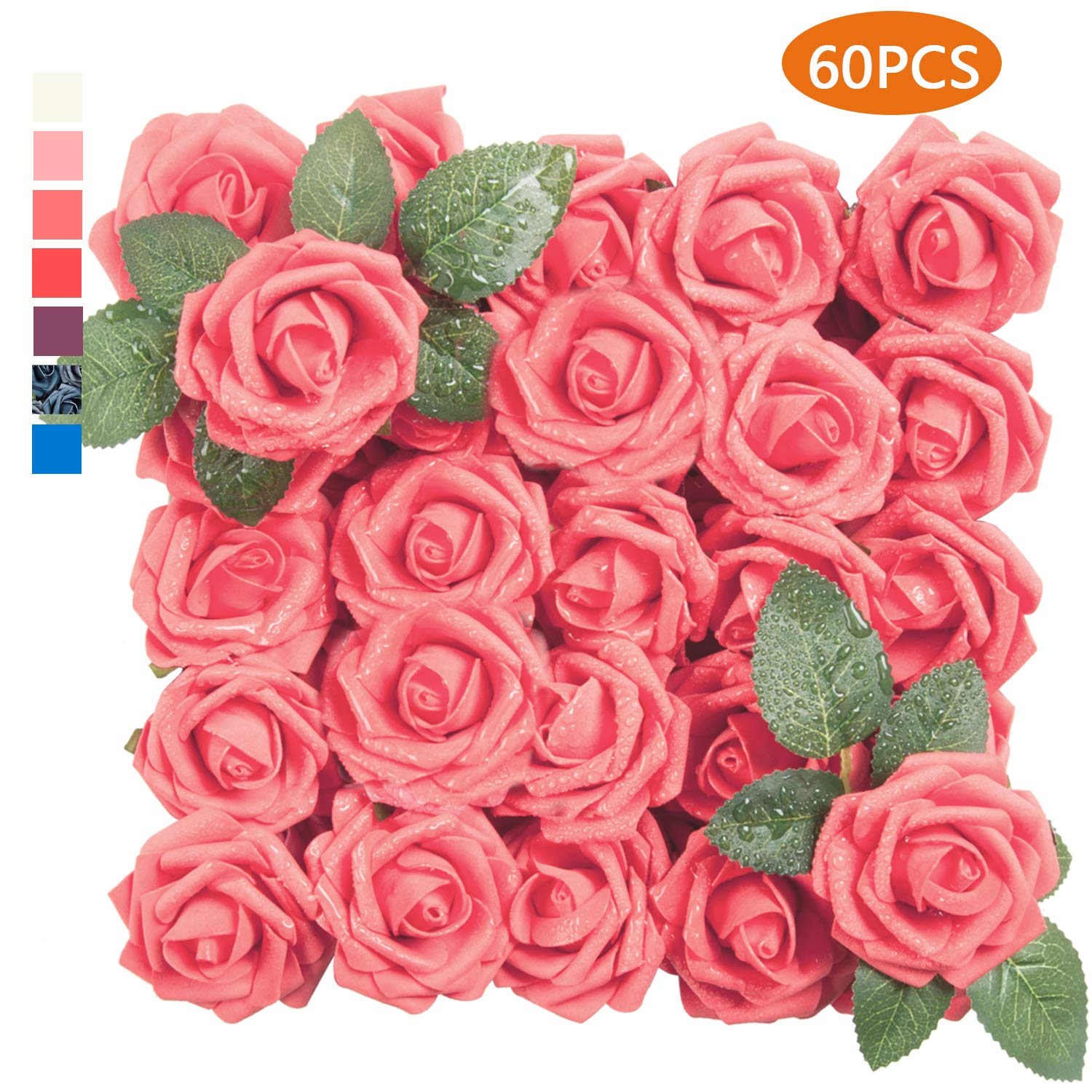 Tophouse 60pcs Artificial Flowers Roses Real Touch Fake Roses For Diy Wedding Bouquets Bridal Shower Party Home Decorations Red