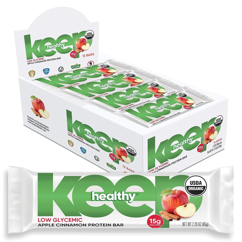 Keep Healthy Low Glycemic Bar - Apple Cinnamon - 12g Plant Based Protein, Low Sugar, Organic, Vegan, Gluten Free, Soy Free, Dairy Free Protein Bar (12 Bars)