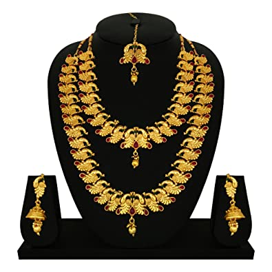 Goldtouch Wedding Gold Brass Peacock Necklace Set For Women Amazon In Jewellery