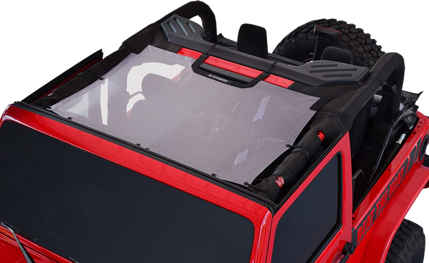 SPIDERWEBSHADE Jeep Wrangler JKini Mesh Shade Top Sunshade UV Protection Accessory USA Made with 5 Year Warranty for Your JK 2-Door and JKU 4-Door in Purple 2007-2018