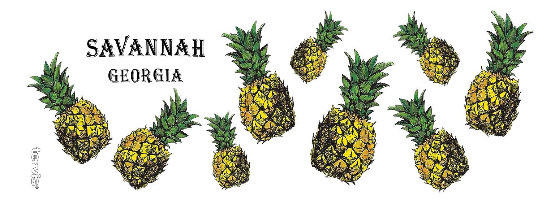 Savannah Pineapple Tumbler with Wrap and Hunter Green Lid 16oz Mug Tervis 1274247 Georgia Clear
