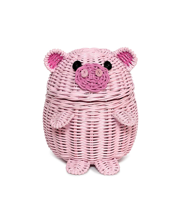 G6 COLLECTION Pig Rattan Storage Basket with Lid Decorative Bin Home Decor Hand Woven Shelf Organizer Cute Handmade Handcrafted Gift Art Decoration Artwork Wicker Pink Piggy (Small)