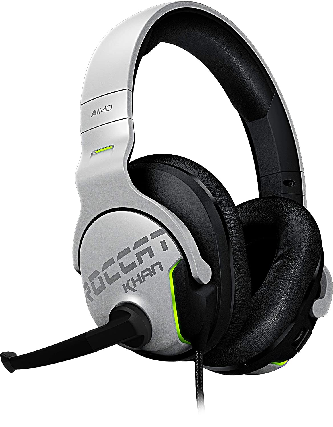 Roccat Khan Aimo 7.1 Surround Gaming Kopfhö rer (Hi-Res Sound, USB, AIMO LED Beleuchtung, Real-Voice Mikrofon mit Mute-Funktion) schwarz ROC-14-800