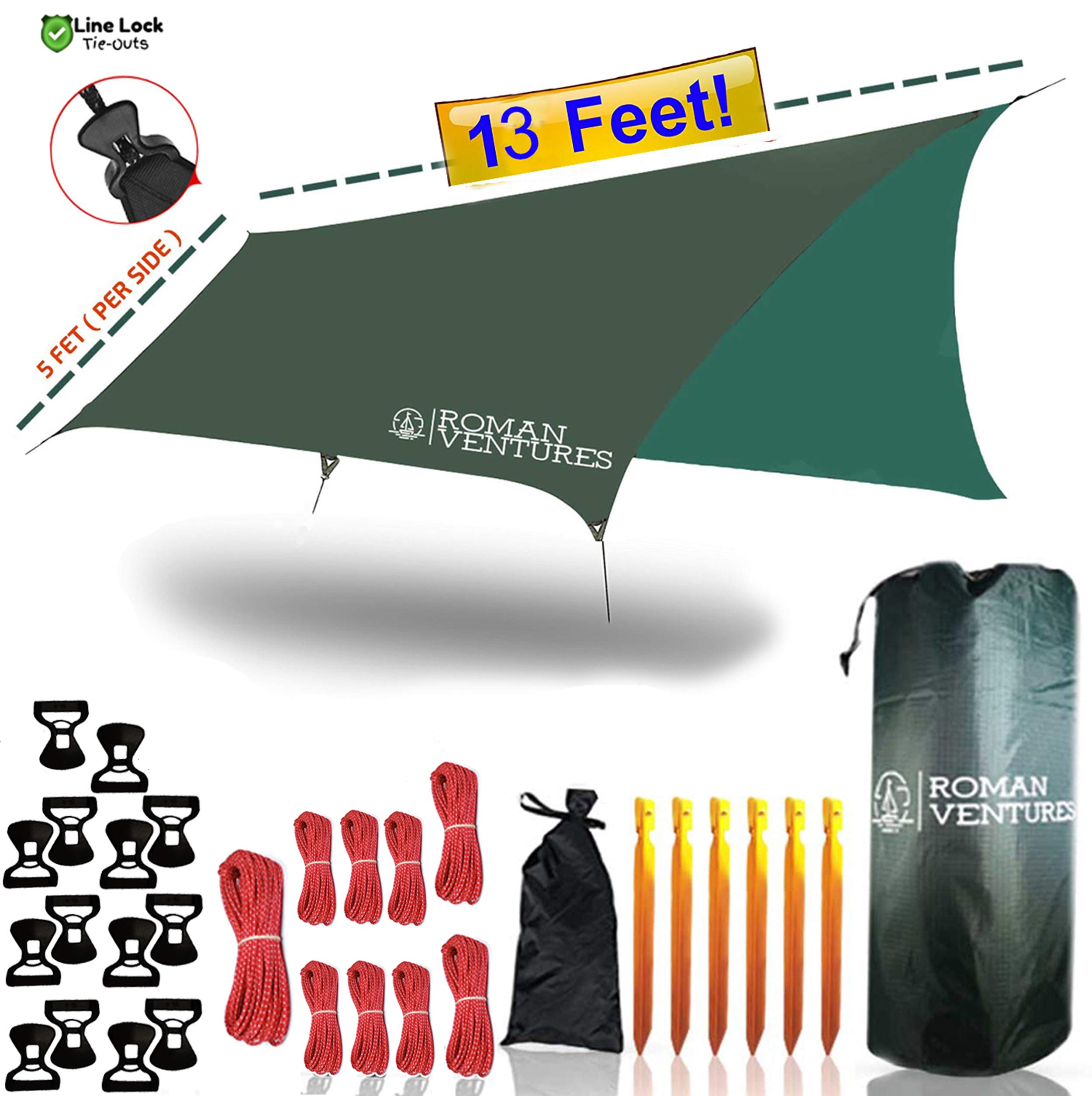 Roman Ventures 13 Foot Rain Fly for Hammock -Light Weight, Diamond-Ripstop Polyester Hammock Rainfly- 2000 PU Waterproof Eno Rain Cover- Rainfly Backpacking Tarp (13 Foot Rectangle) by Roman Ventures