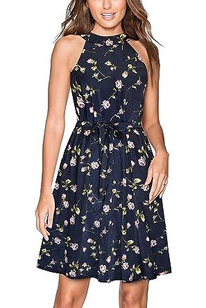 HOMEYEE Damen Neckholder Kordelzug Kalte Schulter Sommer Mini Casual Dress  A096(EU 36   Size e21d290993