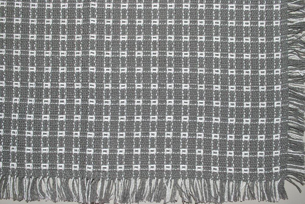 70 x 144 (Rectangle) Homespun Tablecloth, Hand Loomed, 100% Cotton, Gray/White