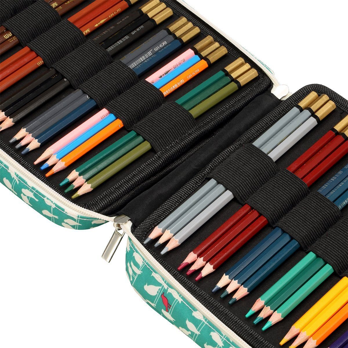 Nrpfell 150 Slots Colored Pencils Universal Pencil Bag Pen Case School Stationery PencilCase Drawing Painting Storage Pouch Pencil Box Green by Nrpfell (Image #6)