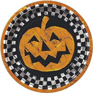 23 cm), diseño de cuadros, de Halloween Platos de fiesta, pack de 8: Amazon.es: Juguetes y juegos