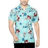 CLUB CUBANA Men's Regular Fit Classic Short Sleeve Casual Christmas Xmas Shirt