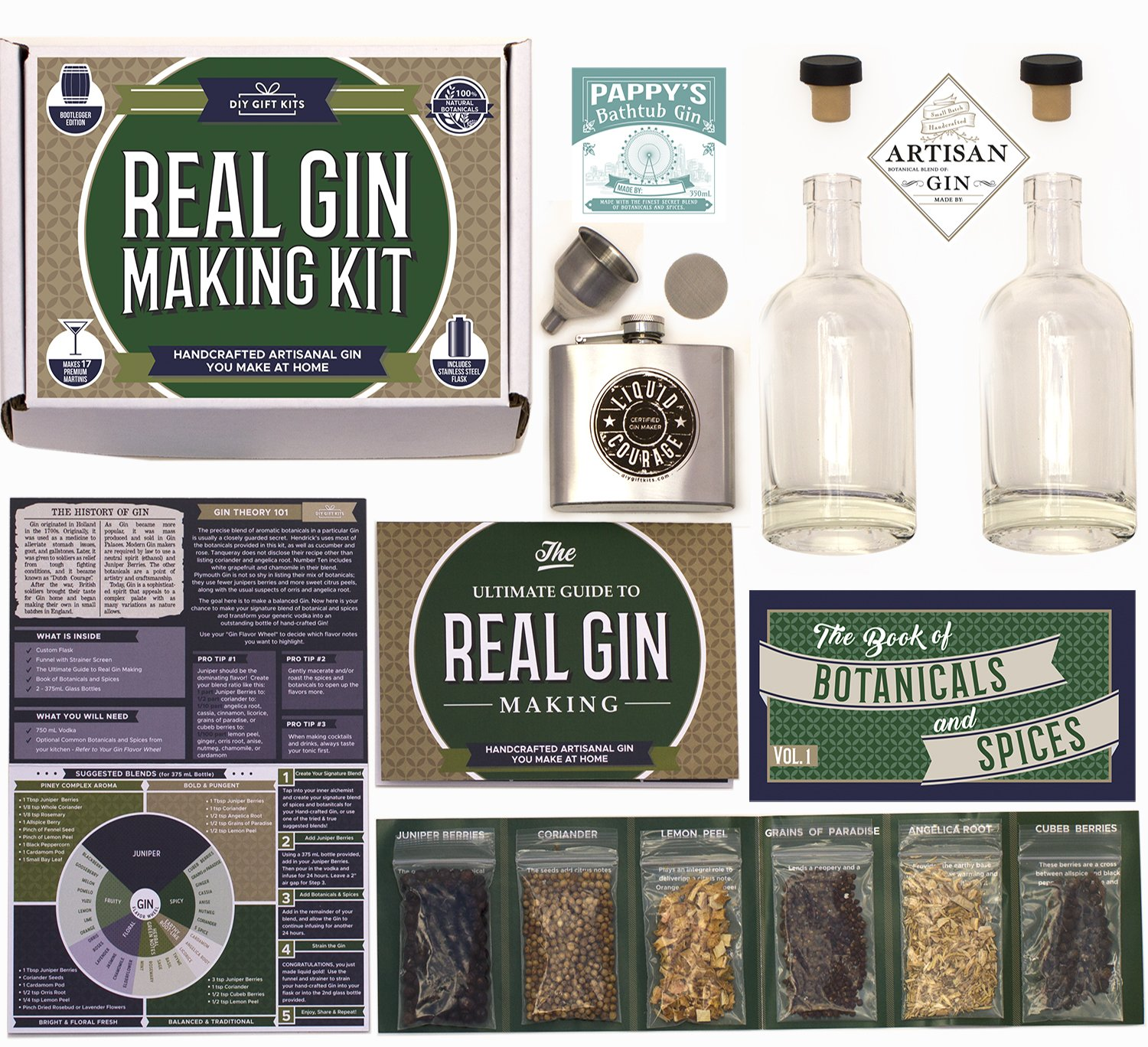 Real Homemade Gin Kit & Stainless Steel Personalized Flask, For Making Delicious Martinis, Gin and Tonics, Spirits & Cocktails At Home | Botanicals, Recipe Guides, Bottles & Labels & More Real Kit Co