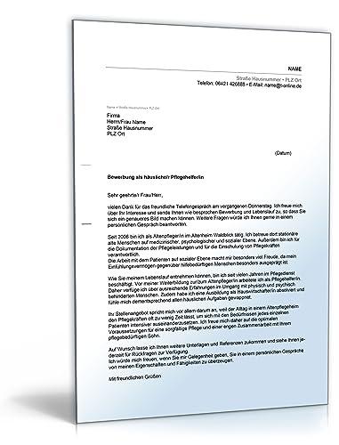 Anschreiben Bewerbung Pflegehelfer Word Dokument Download