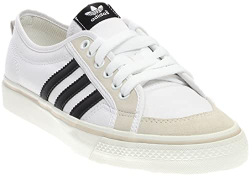 free shipping 209a0 2664e Adidas Nizza Lo Men s Canvas Sneakers, White Black White, ...