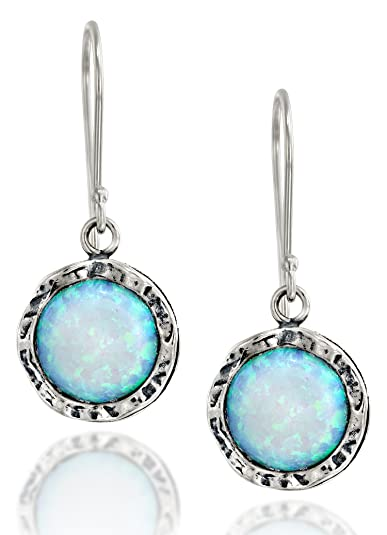 Shimmering Round 925 Sterling Silver Drop Earrings with 10mm Created White Opal YsF7prKRmJ