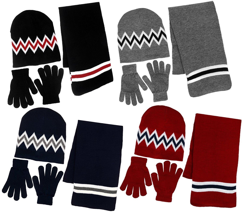 Boy's 3 Piece Knit Hat, Scarf & Gloves Set B8E1254MNVY-GRY-CA