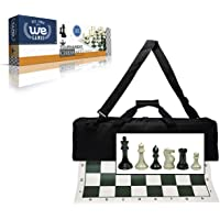 Wood Expressions Deluxe Tournament Chess Set with Canvas Bag and Triple Weighted Chessmen
