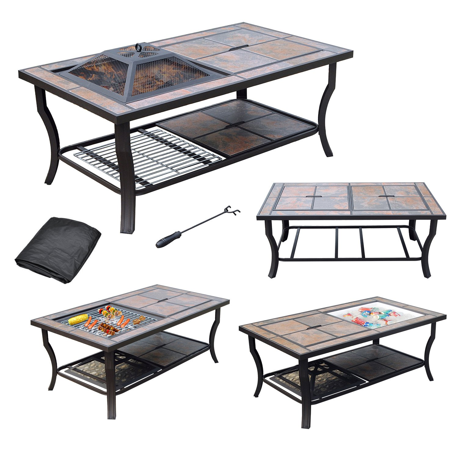 AXXONN 4 in 1 Rectangular Tile Top Fire Pit Cooler Grill and Coffee Table with Cover