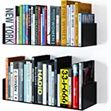Wallniture Bali Floating Wall Mount Metal U Shape Shelf Book CD DVD Storage Display Bookcase Black