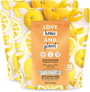 Love Home and Planet Dishwasher Detergent Packets Citrus Yuzu & Vanilla 38 count,Pack Of 2