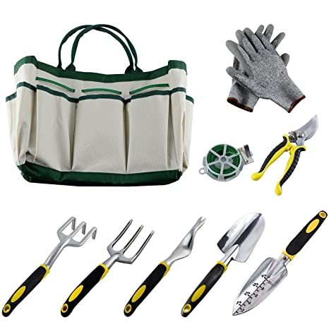 . slashome 9PCS Garden Tool Set  Practical Aluminum Alloy Gardening Tools  with Gloves  50m Bind Line and a Storage Tote